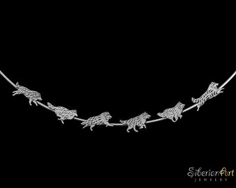 Running Rough Collies necklace - sterling silver
