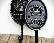 BOLD his and hers wall hook set //black and white victorian coat towel hook // king & queen // shabby cottage rustic chic // gift set