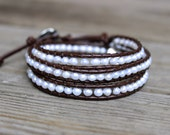 Beaded Leather Wrap Bracelet 3 4 or 5 Wrap with Genuine Fresh Water Pearls on Genuine Brown Leather White Pearl Wrap Bracelet