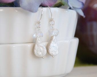Glass Chip Teardrop Earrings - Argentium Silver ear wires.