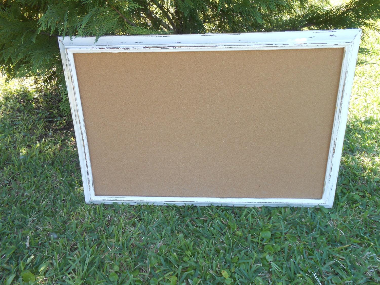 Large White Framed Bulletin Board Rustic Cork Board Framed