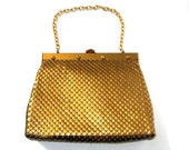 sac à main en maille des années 1950 en métal or métallique grand Whiting et Davis - années 1950 en métal mesh purse - or sac à main - sac de soirée des années 1950 - vintage sac à main
