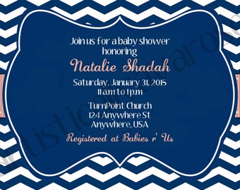 Custom Printable Baby Shower Invitation - Chevron