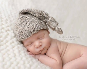 Newborn Baby Knitted Elf Knot Hat perfect for Photography Props