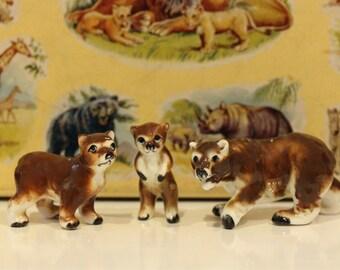 Vintage Set of 3 China Bears Kitsch Cute Goldilocks Kawaii