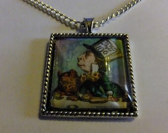 Alice in Wonderland inspired Glass pendant ( Mad hatter )