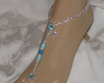 Blue Starfish Beach Wedding Barefoot Sandals Turquoise Foot Jewelry Anklet