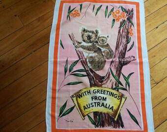 Vintage Koala Bear Linen Towel,Australia - FREE SHIPPING