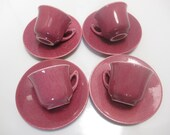 Metlox China - Pattern 200 - Glossy Maroon Demitasse Cups and Saucers - Set of 4 - Shipping Included