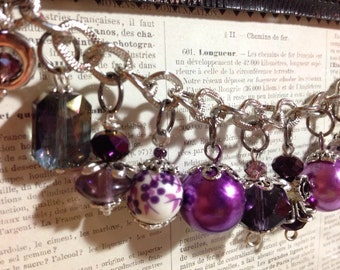 Charm Bracelet - Amethyst February Birthstone with Matching Earrings, 925 Sterling Silver *FREE SHIPPING*