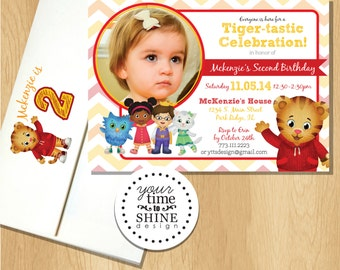 Daniel Tiger Birthday Invitations with Custom Printed Envelopes