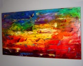 Oil Painting on Canvas 48x24 Huge Original Abstract Modern Fine Art palette knife technique Contemporary Wall Decor by Eugenia Abramson