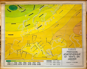 Vintage European Climate Map from Belgium (Winds and Atmospheric Pressure)