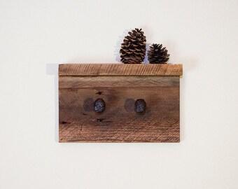 Rustic wall rack, coat rack with railroad spikes, reclaimed wall hooks, barn wood rack