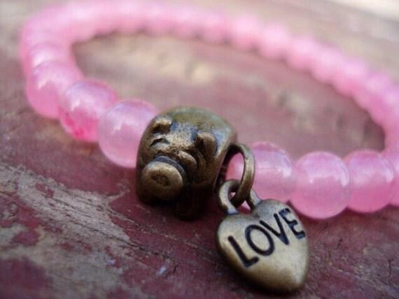 Pink Pig Bracelet, Glass Beaded Bracelet, Love Pig Charm Bracelet, Women's Bracelet, Girl's Jewelry, Pig Jewelry, Funny Jewelry, Pig