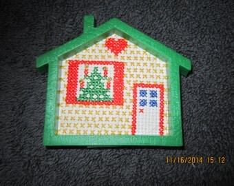 Holiday House Cross Stitch Christmas Tree Ornament