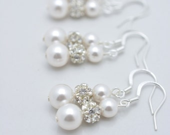 9 Pairs Bridesmaid Earrings, 9 Pairs Pearl and Rhinestone Earrings, Long Pearl Earring, Pearl and Crystal Bridesmaid Pearl Drop Earring 0151