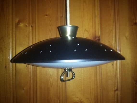 Atomic Retractable Light Fixture Black With Brushed Antiqued