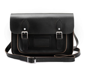 Medium Wooster British Handmade Leather Satchel  - Black