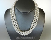 Multi Strand Pearl Necklace, Bridal Pearl Necklace, Layered Necklace, Maid of Honor Gift, Cultured Pearls, Freshwater Pearls