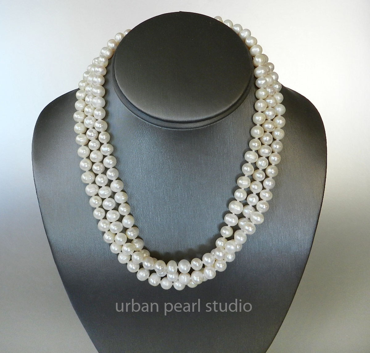 Multi Strand Pearl Necklace Bridal Pearl Necklace Cultured
