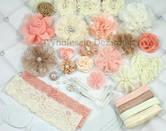 Vintage Headband DIY Kit - Ivory, Cream, Tan, Peach Headband Kit / Station - 22 Headbands Hair Clips Hair Ties - 62 Pieces Shabby Flowers