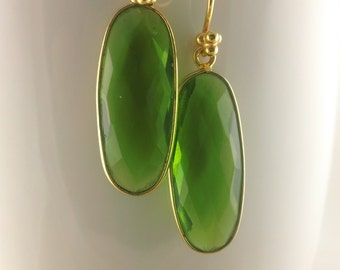 Luscious Lime Quartz Oval Earrings