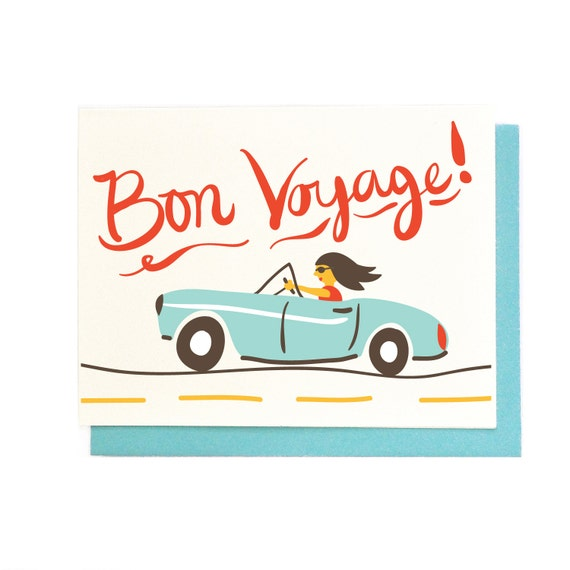 Bon voyage card best wishes traveling hand illustrated greeting card