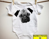 Baby Clothes. PUG face. pop art. Puppy PUG. 7 colors. baby romper onezee bodysuit creeper. Baby announcement. baby shower gift. dog lover