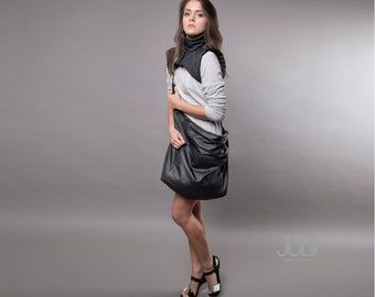 Black leather tote fur leather bag shoulder cowhide bag