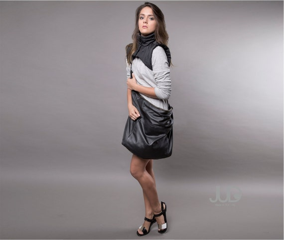 Black leather bag Hobo bag SALE Crossbody bag Shoulder bag