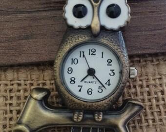 1pcs 53mmx35mm Bronze Owl pocket watch charms pendant PW041