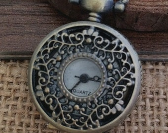 1Pcs  25mmx25mm Bronze color  Flower pocket watch charms pendant  S09