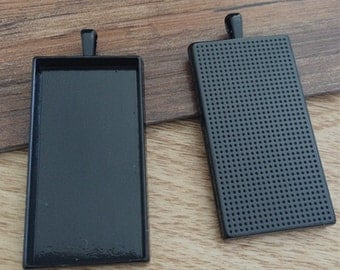 4pcs  48x24mm Black Rectangle Cameo Setting F708