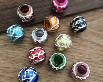 50Pcs  10mm Mixed color (x shape pattern ) aluminum  Beads