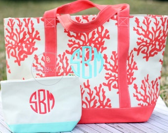 Monogrammed Canvas  Beach Bag - Personalized Beach Bag - Embroidered Tote Bag - Canvas tote Bag