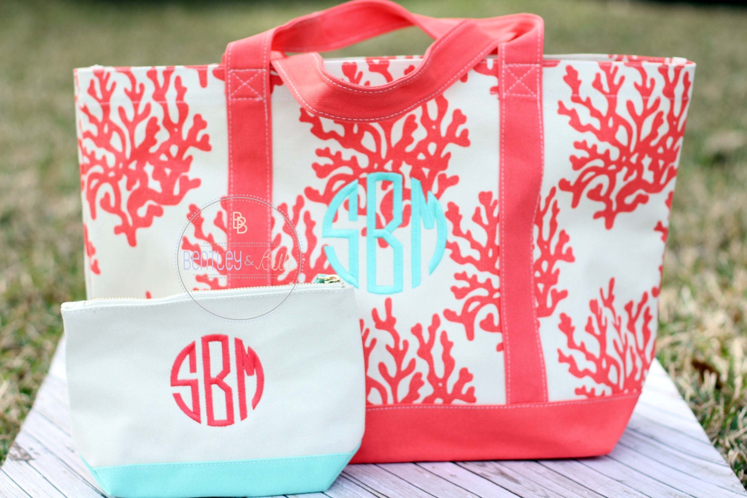 Monogrammed canvas beach bag personalized
