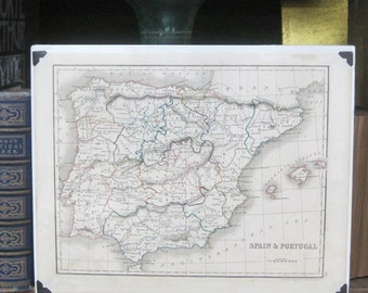 Spain and Portugal, Map Of Spain and Portugal C1800S - Original Antique Handcoulored Map