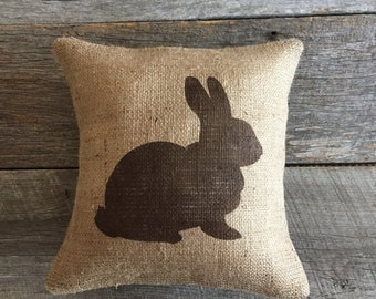 Chocolate Brown Stenciled Rabbit Burlap Pillow,Brown Rabbit pillow,bunny pillow,rabbit pillow, easter pillow,spring pillow,porch pillow,