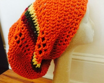 Orange Dread Tam with Rasta Stripe