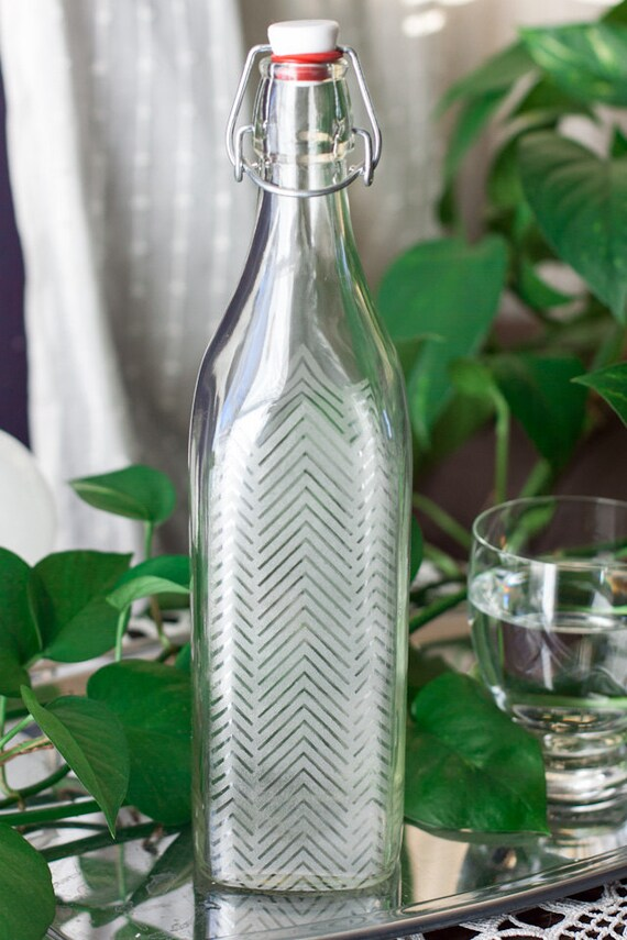 Reusable Etched... Reusable Glass Water Bottle
