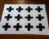 Modern swiss-cross black and white quilt in any size