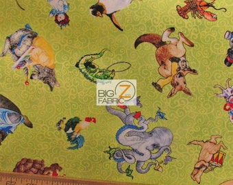 """Alphabet Soup Animals By South Sea Imports 100% Cotton Fabric - 45"""" Width Sold By The Yard (FH-1142)"""