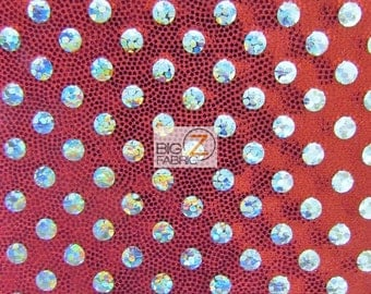 """Small Polka Dot Lustrous Nylon Spandex Costume Fabric - RED - Sold By The Yard 54""""/56"""" Width"""