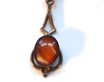 Vintage Amber Cabochon Necklace, Art Nouveau Style, Costume Jewelry