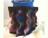 Blue and Rainbow Sculpture Felt Vessel, Sculptural, The Whirligig Vase / Wine Cozy - Hand Felted Wool Vase with Glass Vase Interior