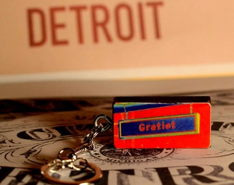 Gratiot Avenue Detroit Michigan Photograph on Vintage Domino Keychain