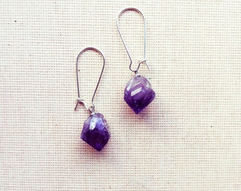 Raw Amethyst Earrings-Bohemian Earrings, Dangle Earrings, Gemstone Earrings, Amethyst Earrings, Birthstone Earrings, Gift Idea FREE SHIPPING