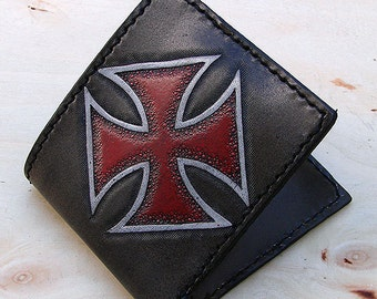 Handcrafted bifold wallet with iron cross