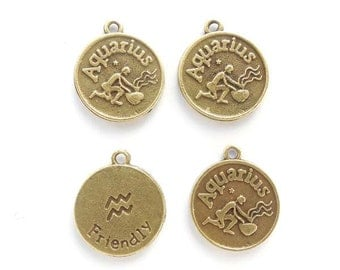 4 Antique Bronze Zodiac Aquarius Charms - 22-5-2